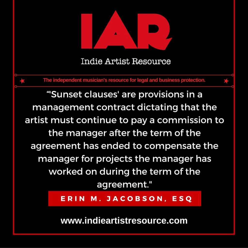 indie artist resource, erin m jacobson, erin jacobson, music attorney, music lawyer, los angeles, sunset clause, commission, management, manager, contract, agreement
